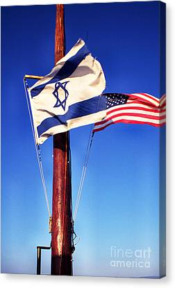 Israeli Flag And Us Flag Canvas Print by Thomas R Fletcher