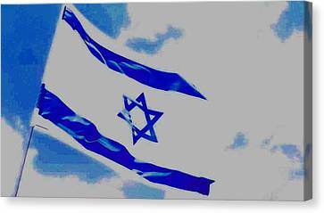Canvas Print featuring the photograph Israeli Flag by Diane Miller