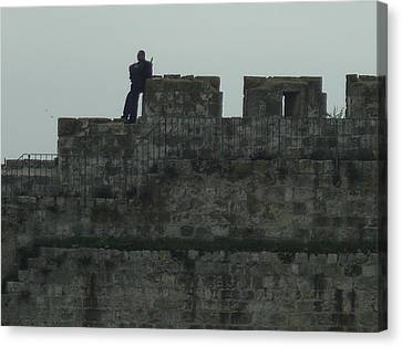 Israeli Soldier On The Walls Of The Old City Canvas Print by Esther Newman-Cohen