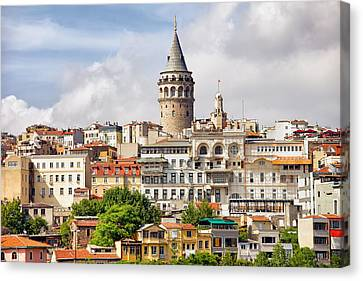 Istanbul Cityscape And Galata Tower Canvas Print by Artur Bogacki