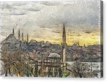 Istanbul Cityscape Digital Drawing Canvas Print