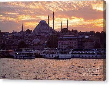 Istanbul Port Sunset Canvas Print