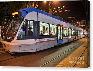 Istanbul Tram At Night Canvas Print by Imran Ahmed