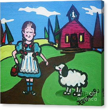 Canvas Print featuring the painting It Followed Her To School One Day by Joyce Gebauer