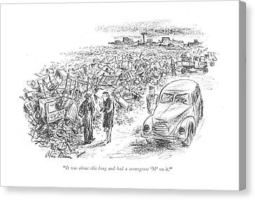 Junk Canvas Print - It Was About This Long And Had A Monogram 'm' by Alan Dunn