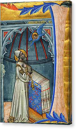 Italian 15th Century, The Annunciation To Zacharias Canvas Print by Quint Lox
