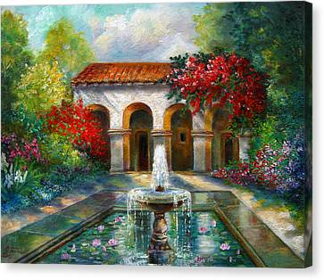Italian Abbey Garden Scene With Fountain Canvas Print by Regina Femrite