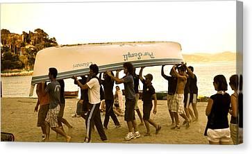Italian Boys Loading Boat Canvas Print