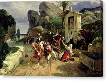 Italian Brigands Surprised By Papal Troops Canvas Print by Emile Jean Horace Vernet