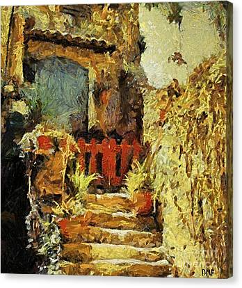 Italian Courtyard Canvas Print by Dragica  Micki Fortuna