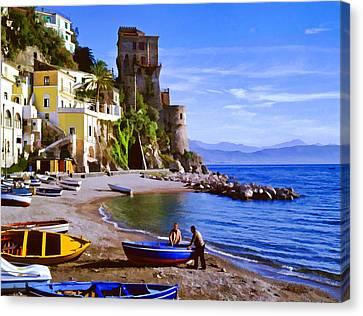 Italian Landscape Canvas Print - Italian Fishermen On The Amalfi Coast by Cliff Wassmann