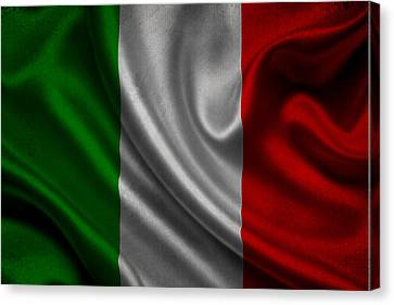 Italian Flag Waving On Canvas Canvas Print by Eti Reid