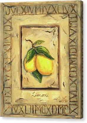 Italian Fruit Lemons Canvas Print by Marilyn Dunlap