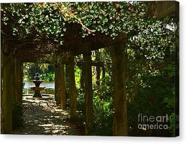 Italian Garden Pergola And Fountain Canvas Print