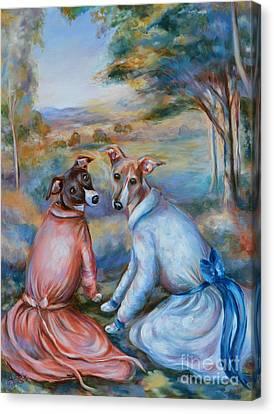Italian Greyhounds Renoir Style Canvas Print