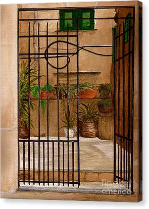 Canvas Print featuring the painting Italian Iron Gate by Nan Wright