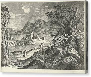 Italian Landscape In The Storm, Willem Van De Lande Canvas Print