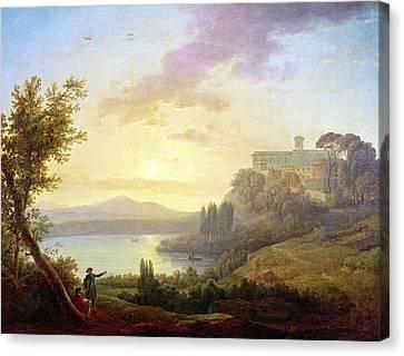 Italian Landscape, Setting Sun Canvas Print by Jean-Francois Hue