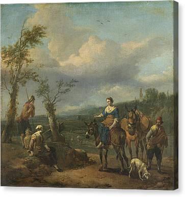 Italian Landscape With Figures, Johannes Lingelbach Canvas Print