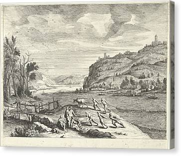 Italian Landscape With Fishermen, Print Maker Willem Van De Canvas Print
