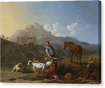 Italian Landscape With Girl Milking A Goat Canvas Print