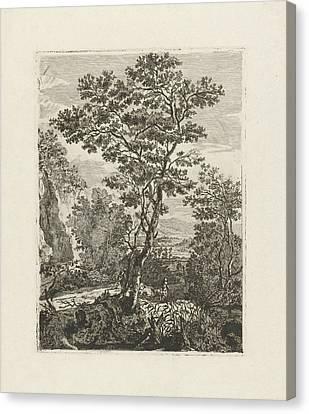 Italian Landscape With Peasants, Herman Löwenstam Canvas Print