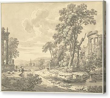 Italian Landscape With Ruins, Johann Heinrich Müntz Canvas Print