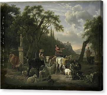 Italian Landscape With Shepherds And Animals At A Fountain Canvas Print