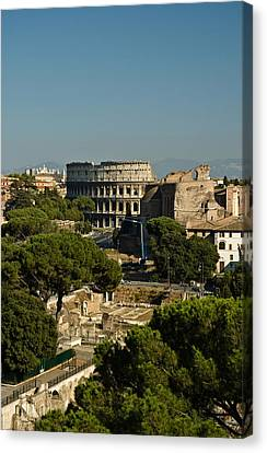 Canvas Print featuring the photograph Italian Landscape With The Colosseum Rome Italy  by Marianne Campolongo