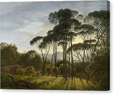 Italian Landscape With Umbrella Pines, Hendrik Voogd Canvas Print
