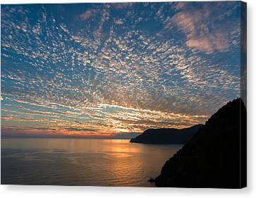 Canvas Print featuring the photograph Italian Riviera Sunset by Carl Amoth