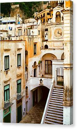 Italian Scene With Clocktower Canvas Print