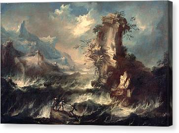 Italian Seascape With Rocks And Figures Canvas Print by Marco Ricci