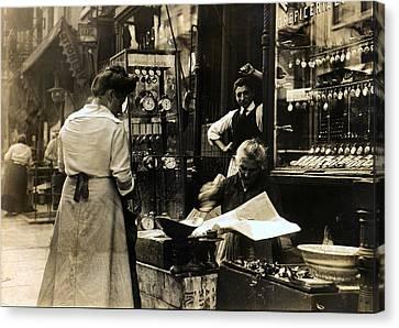Italian Shop On Mott Street Ny Canvas Print by Unknown