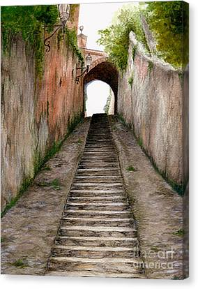 Italian Walkway Steps To A Tunnel Canvas Print