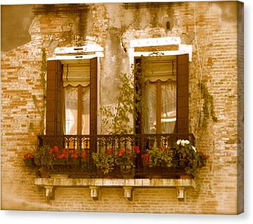 Italian Windowbox 3 Canvas Print by Teresa Tilley
