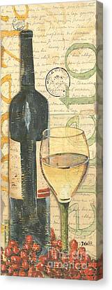Wine Bottle Canvas Print - Italian Wine And Grapes 1 by Debbie DeWitt