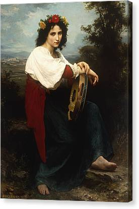 Italian Woman With A Tambourine Canvas Print by William Adolphe Bouguereau