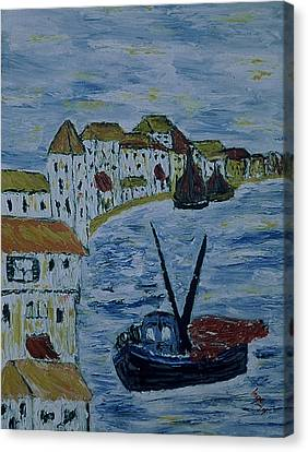 Italien Fishing Town Canvas Print by Inge Lewis