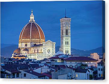 Italy, Florence, Cathedral, Duomo, Night Canvas Print