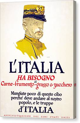 Italy Has Need Of Meat, Wheat, Fat Canvas Print by George Illian