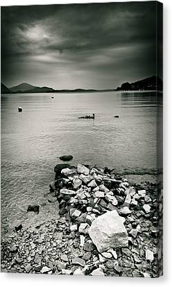 Italy Lake Maggiore Moody View Canvas Print by Silvia Ganora