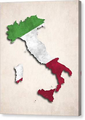 Italy Map Art With Flag Design Canvas Print by World Art Prints And Designs