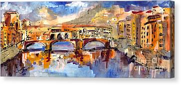 Italy Ponte Vecchio Florence Canvas Print by Ginette Callaway