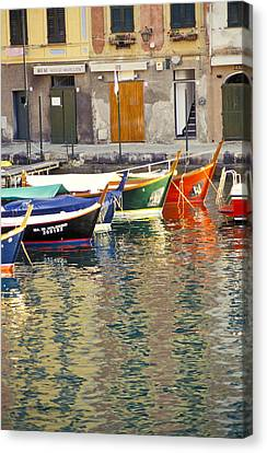 Italy Portofino Colorful Boats Of Portofino Canvas Print by Anonymous