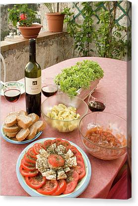 Italy, Positano Meal Of Antipasti Canvas Print by Jaynes Gallery