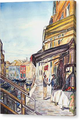 Canvas Print featuring the painting Italy Shop How Are You Doing by Becky Kim