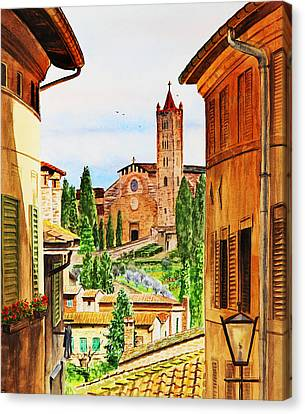 Canvas Print featuring the painting Italy Siena by Irina Sztukowski