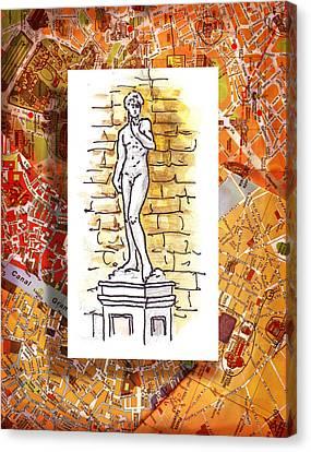 Italy Sketches Michelangelo David Canvas Print by Irina Sztukowski