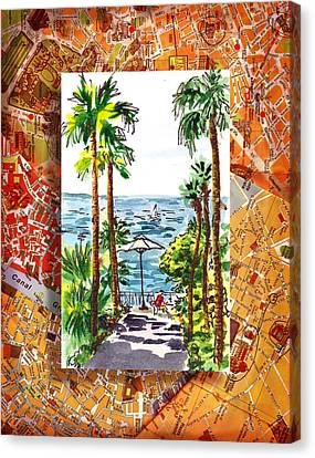 Italy Sketches Palm Trees Of Sorrento Canvas Print